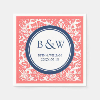 Custom Monogram Wedding Napkin Coral Blue Damask