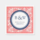 Custom Monogram Wedding Napkin Coral Blue Damask Paper Napkins