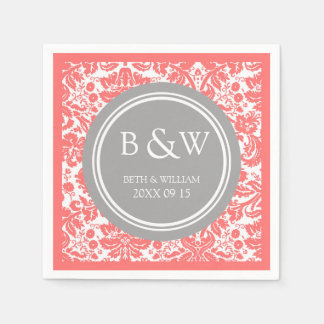 Custom Monogram Wedding Napkin Coral Grey Damask