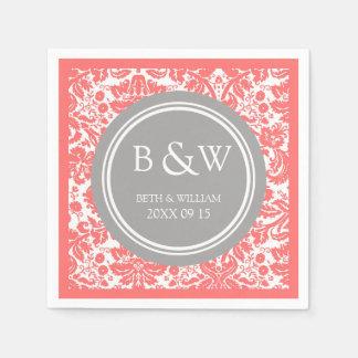 Custom Monogram Wedding Napkin Coral Grey Damask