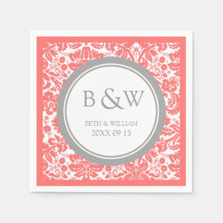 Custom Monogram Wedding Napkin Coral Grey Damask Paper Napkins