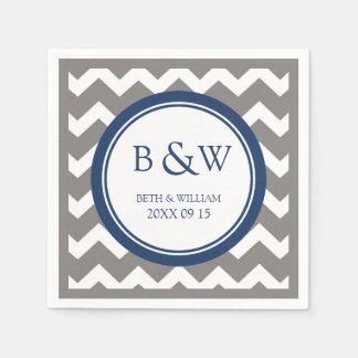 Custom Monogram Wedding Napkin Grey Blue Chevron Paper Napkin