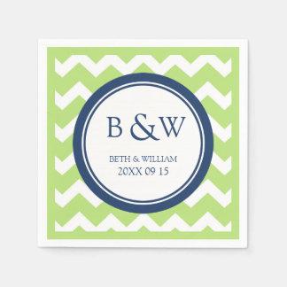 Custom Monogram Wedding Napkin Lime Blue Chevron Disposable Napkin
