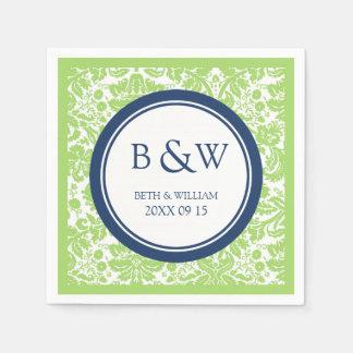 Custom Monogram Wedding Napkin Lime Blue Damask