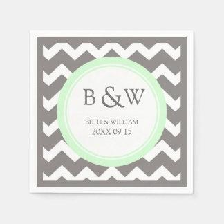 Custom Monogram Wedding Napkin Mint Grey Chevron Disposable Napkins