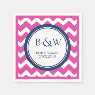 Custom Monogram Wedding Napkin Pink Blue Chevron Paper Napkins