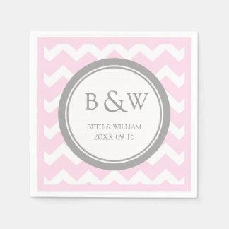 Custom Monogram Wedding Napkin Pink Grey Chevron Disposable Napkin