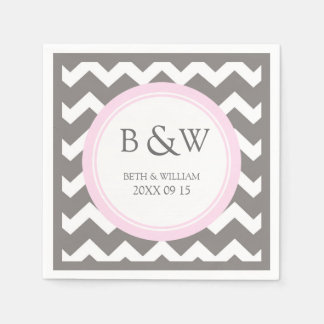 Custom Monogram Wedding Napkin Pink Grey Chevron Disposable Napkins