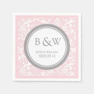 Custom Monogram Wedding Napkin Pink Grey Damask Disposable Napkin