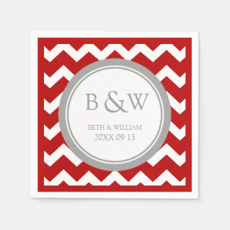 Custom Monogram Wedding Napkin Red Grey Chevron Paper Napkin