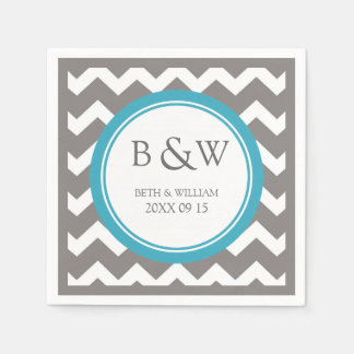 Custom Monogram Wedding Napkin Teal Grey Chevron Disposable Napkins
