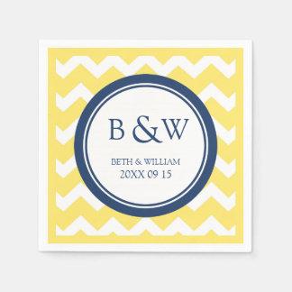 Custom Monogram Wedding Napkin Yellow Blue Chevron Disposable Napkins