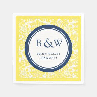 Custom Monogram Wedding Napkin Yellow Blue Damask Paper Napkin