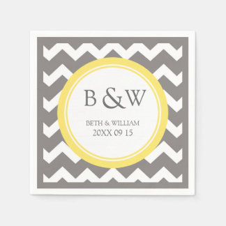 Custom Monogram Wedding Napkin Yellow Grey Chevron