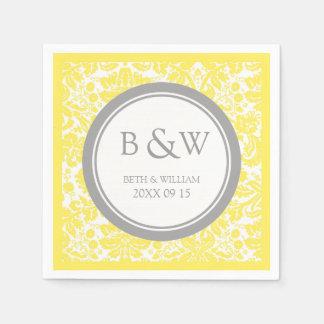 Custom Monogram Wedding Napkin Yellow Grey Damask