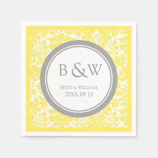 Custom Monogram Wedding Napkin Yellow Grey Damask Disposable Napkins