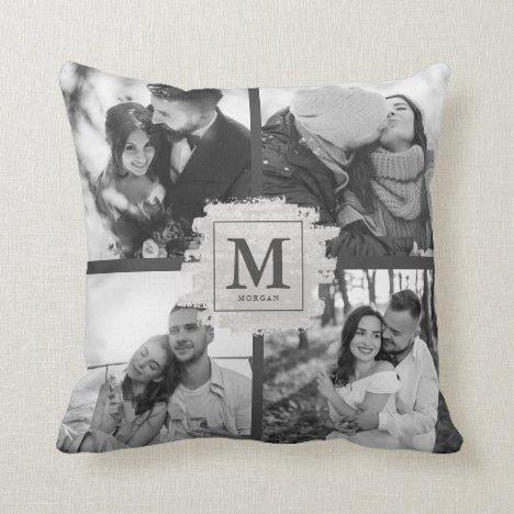 Custom Monogram Wedding Newlywed Elegant Photo Throw Pillow