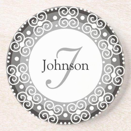 Custom Monogram Wedding Sandstone Coaster