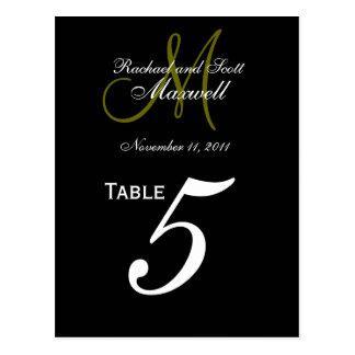 Custom Monogram Wedding Table Number Cards