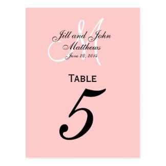 Custom Monogram Wedding Table Number Pink Postcard
