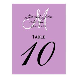 Custom Monogram Wedding Table Number Purple Postcard