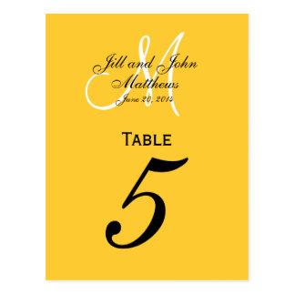 Custom Monogram Wedding Table Number Yellow Postcard