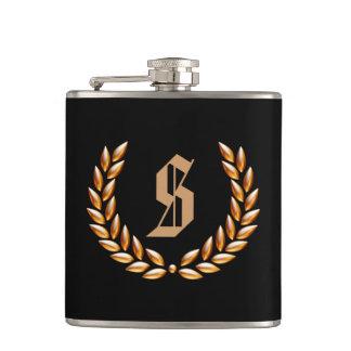 Custom Monogram Wheat Crown Gold on Black Flask