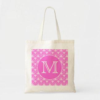 Custom Monogram. White and Pink Damask Pattern. Budget Tote Bag