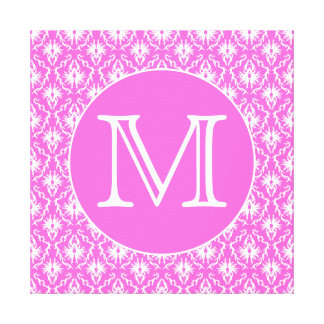 Custom Monogram. White and Pink Damask Pattern. Stretched Canvas Print