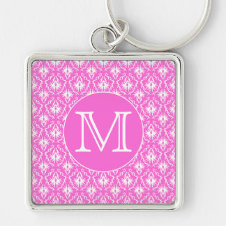 Custom Monogram. White and Pink Damask Pattern. Keychain