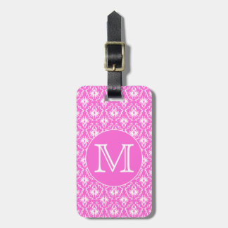 Custom Monogram. White and Pink Damask Pattern. Tag For Luggage