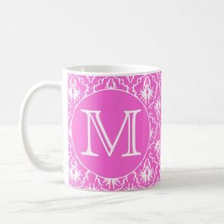 Custom Monogram. White and Pink Damask Pattern. Coffee Mugs