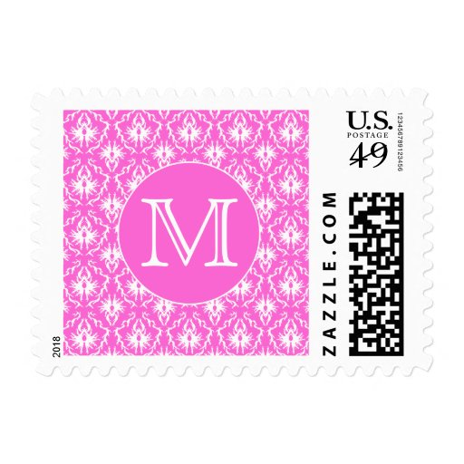 Custom Monogram. White and Pink Damask Pattern. Postage Stamps