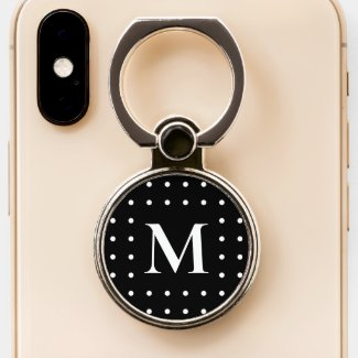 Custom Monogram White Dot Border on Black Phone Ring Stand