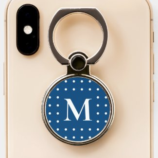 Custom Monogram White Dot Border on Blue Phone Ring Stand