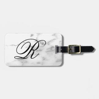 Custom monogram white marble stone elegant travel bag tag
