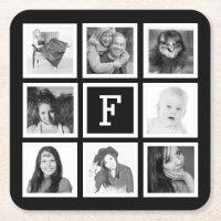 Custom Monogram with 8 Square Photos Square Paper Coaster