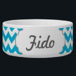 """Custom Monogram with Blue Chevron Background Bowl<br><div class=""""desc"""">A simple punch of blue monogram pattern fills the background for this design. Edit the text to create a personalized item.</div>"""