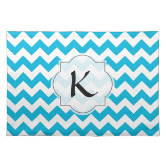 Custom Monogram with Blue Chevron Background Cloth Placemat