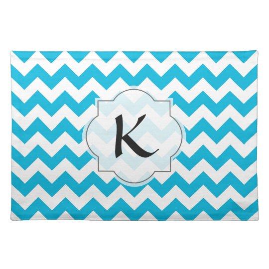 Custom Monogram with Blue Chevron Background Cloth Placemat