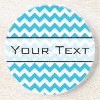 Custom Monogram with Blue Chevron Background Drink Coaster