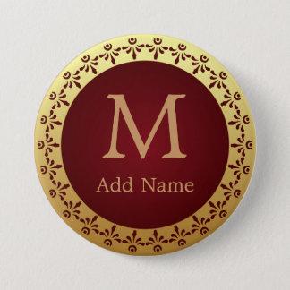 Custom Monogram With Roman Decorative Motif Button