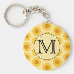 Custom Monogram, with Yellow Sunflowers. Basic Round Button Keychain