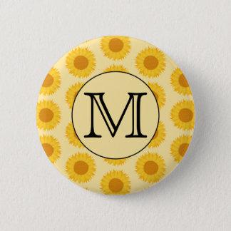 Custom Monogram, with Yellow Sunflowers. Button