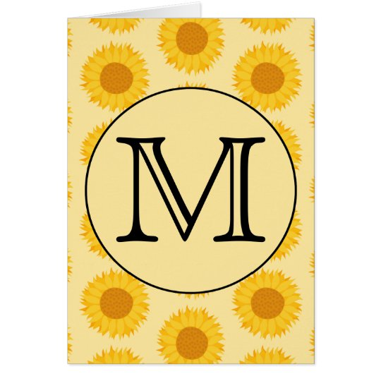 Custom Monogram, with Yellow Sunflowers. Card