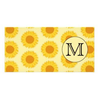 Custom Monogram, with Yellow Sunflowers. Card