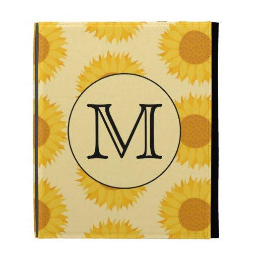 Custom Monogram, with Yellow Sunflowers. iPad Folio Cases