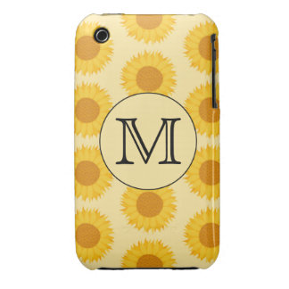 Custom Monogram, with Yellow Sunflowers. iPhone 3 Case-Mate Cases