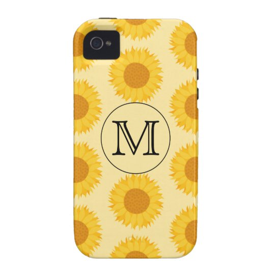 Custom Monogram, with Yellow Sunflowers. Case-Mate iPhone 4 Case