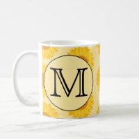 Custom Monogram, with Yellow Sunflowers. Classic White Coffee Mug